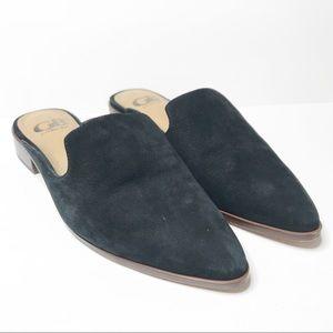 Gianni Bini Black Suede Leather Mules 6.5